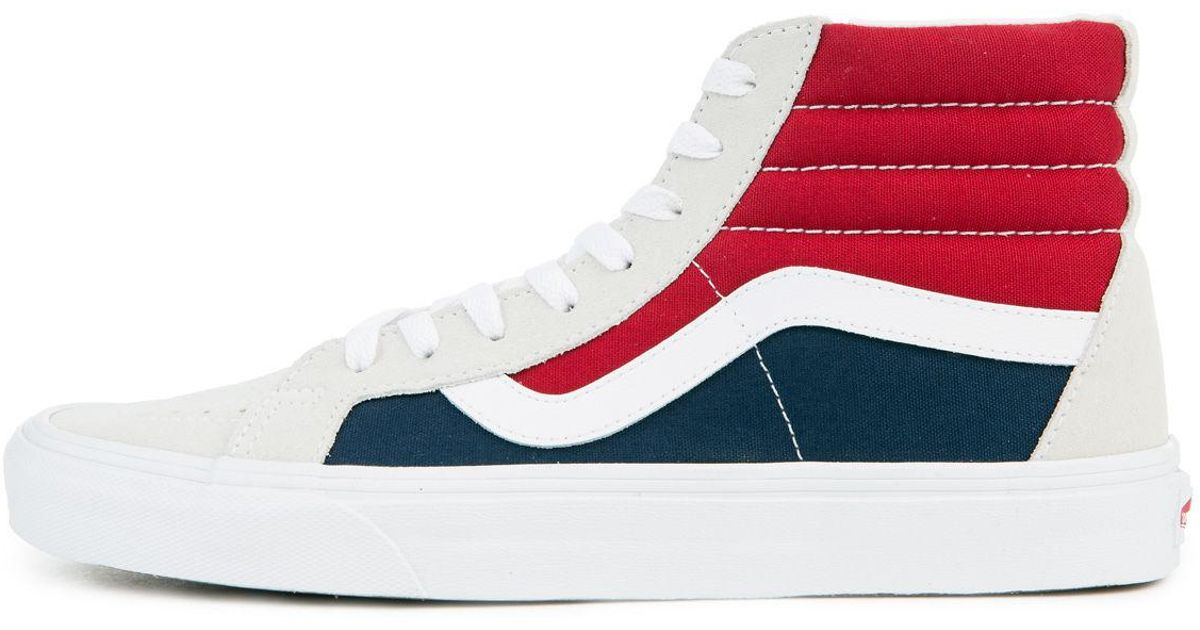 cac59145fa17d9 Lyst - Vans The Men s Sk8-hi Reissue Retro Block In White  Red And Dress  Blues for Men