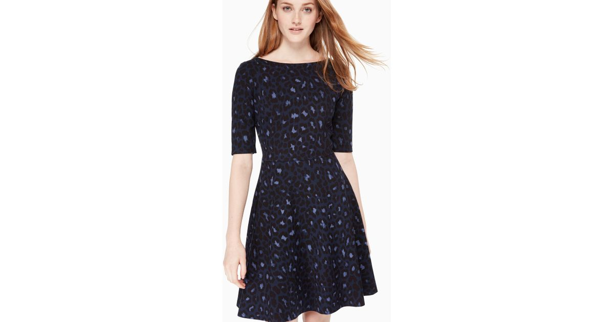 f66a5b7e24 Lyst - Kate Spade Leopard-print Lace-up Ponte Dress in Blue - Save 70%
