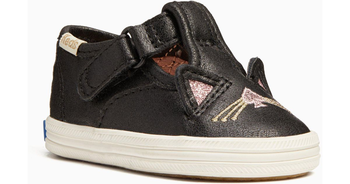 a72fabcf6500 Lyst - Kate Spade Keds X New York Hayden Cat T-strap Crib Sneakers in Black