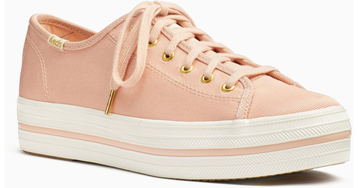 55e9eaed365 Lyst - Kate Spade Keds X New York Triple Kick Faille Sneakers in Pink