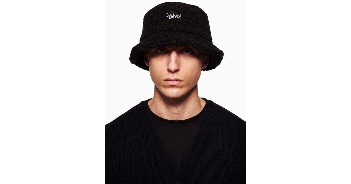 Lyst - Stussy Sherpa Fleece Bucket Hat in Black for Men 4fa1fb486fd