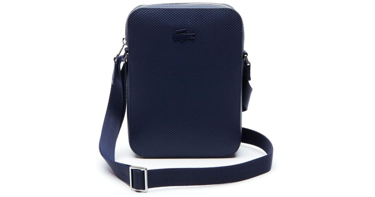 b585e6254 Lyst - Lacoste Chantaco Vertical Matte Piqué Leather Bag in Blue for Men