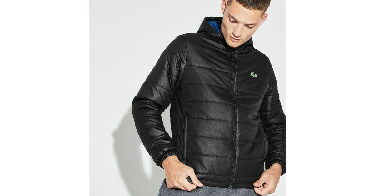 e4b461ec82 Lacoste Sport Hooded Water-resistant Taffeta Tennis Jacket in Black for Men  - Lyst