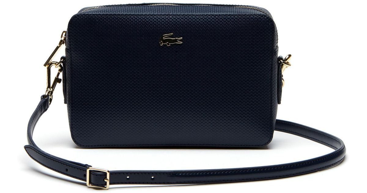 f81760ca0646 Lyst - Lacoste Chantaco Piqué Leather Square Crossover Bag in Blue