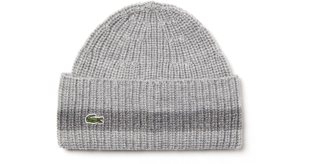 f2f5a9c7 Lyst - Lacoste Turned Edge Ribbed Wool Beanie in Gray for Men