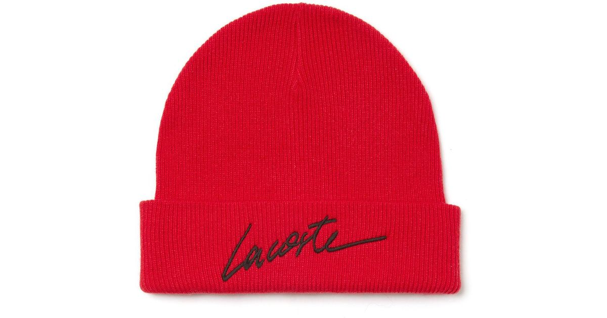 cb90d95971a Lyst - Lacoste Unisex Live Turned Edge Ribbed Wool Beanie in Red