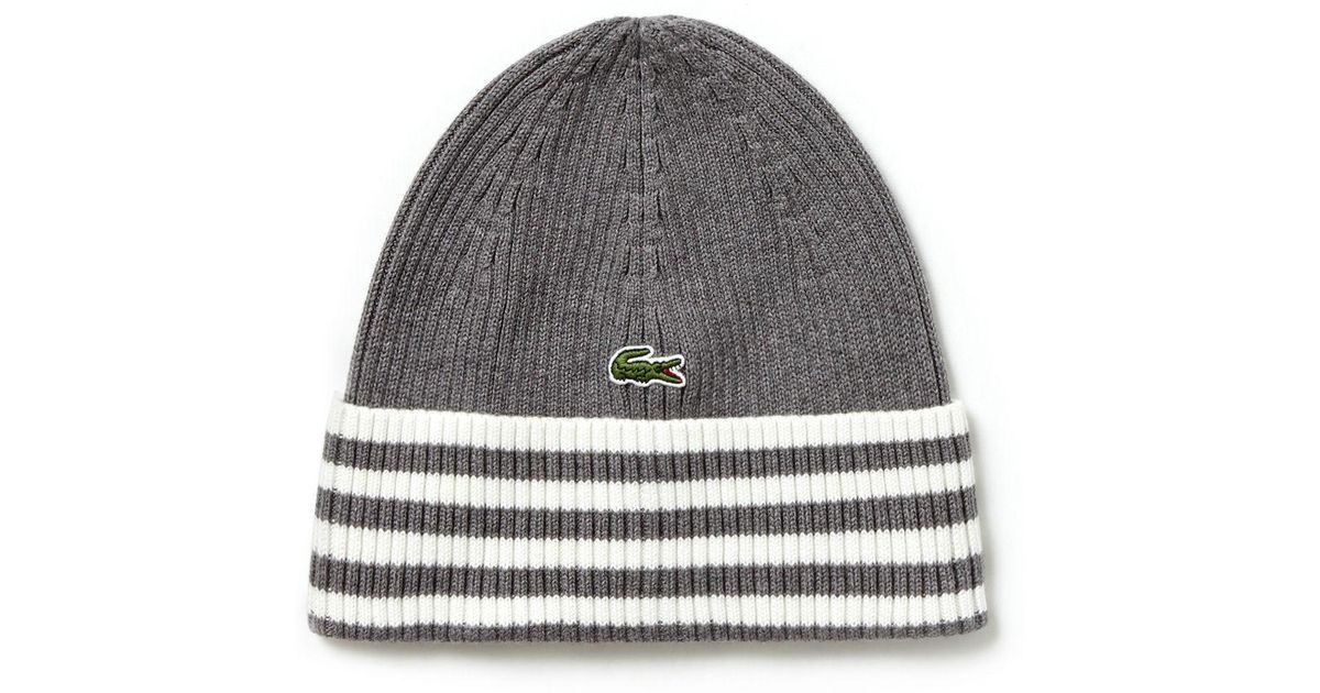 6b6a202fc4f Lyst - Lacoste Striped Turned Edge Ribbed Cotton Beanie in Gray for Men