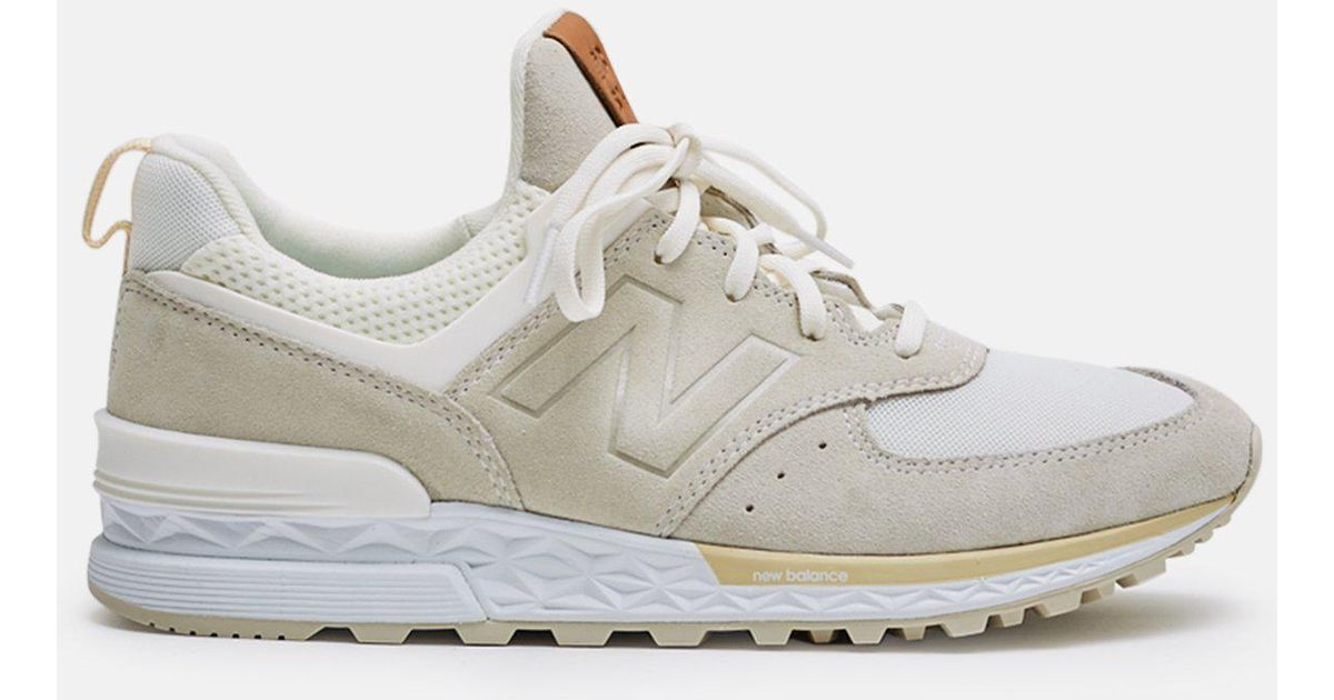 New Balance White 574 Sport Suede Mesh Sneakers