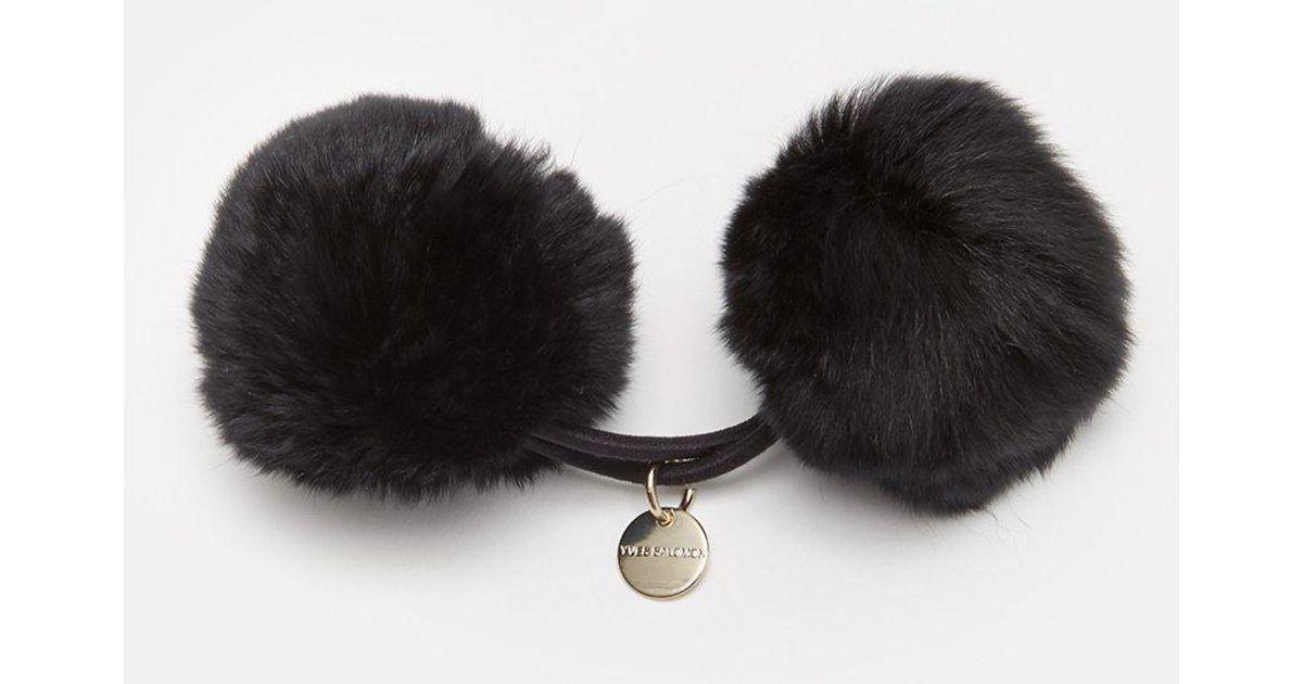 52dd2a7d4c4 Lyst - Army By Yves Salomon Rabbit Pom Pom Hair Tie in Black