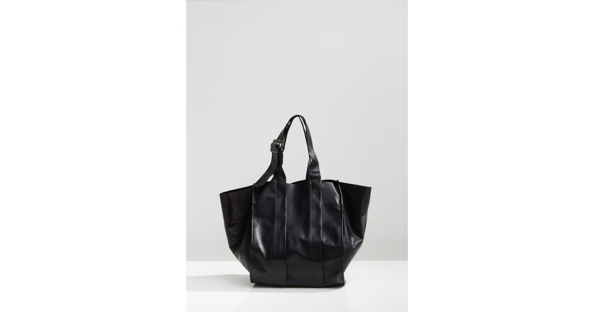 0519e39eb5 Lyst - Yohji Yamamoto Bellows Leather Handbag in Black