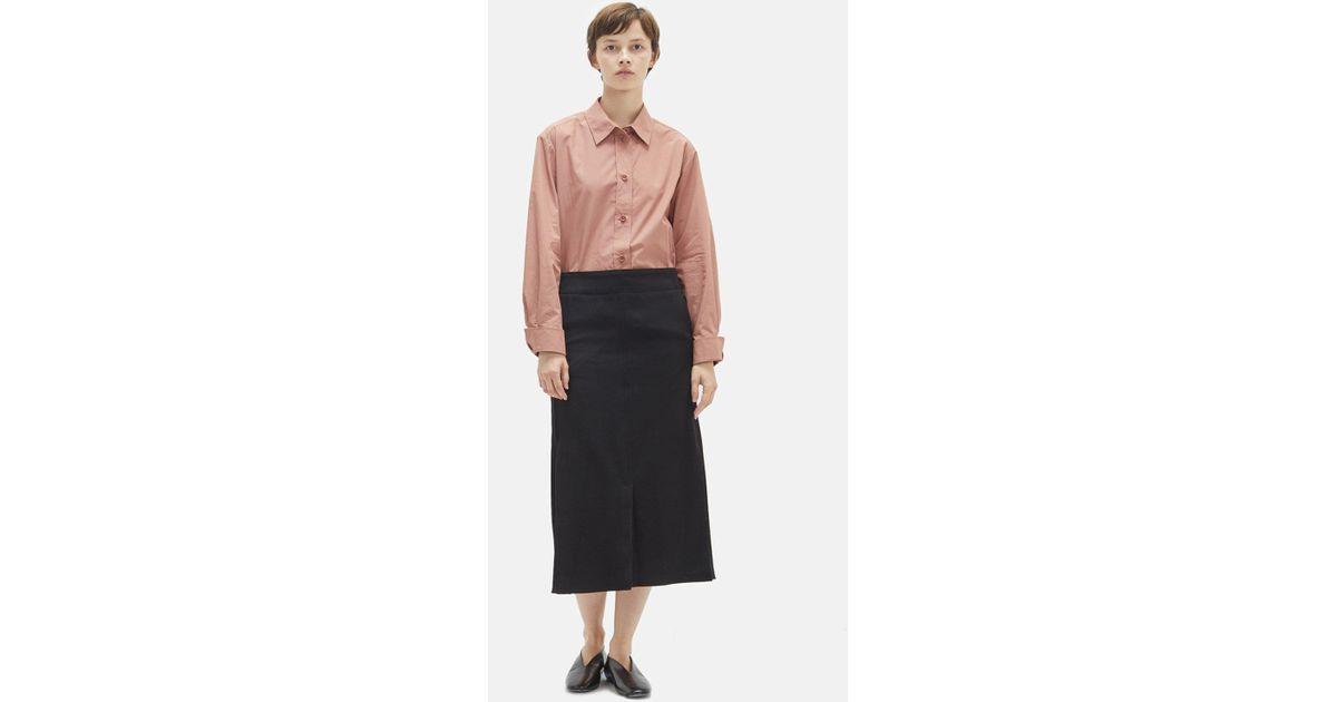 0c2dc6577546 Lemaire Wool Gabardine Straight Skirt in Black - Lyst