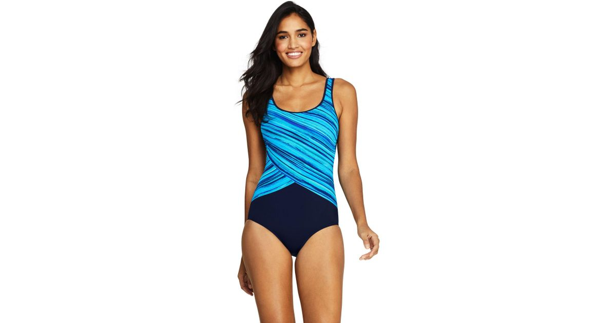 3e3fe4ed2be Lands' End Mastectomy Printed Tugless Swimsuit in Blue - Save 56% - Lyst