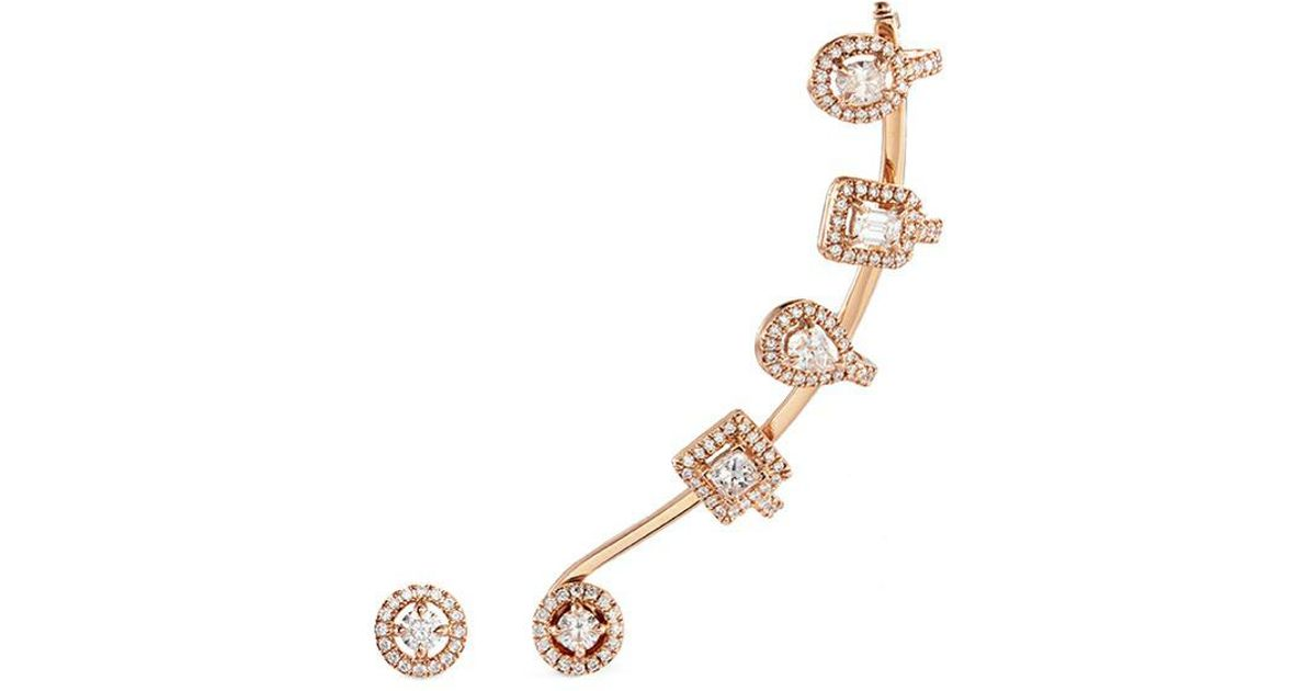 fd6236b26 Messika 'my Twin Multishape' Diamond 18k Rose Gold Mismatched Earrings in  Metallic - Lyst