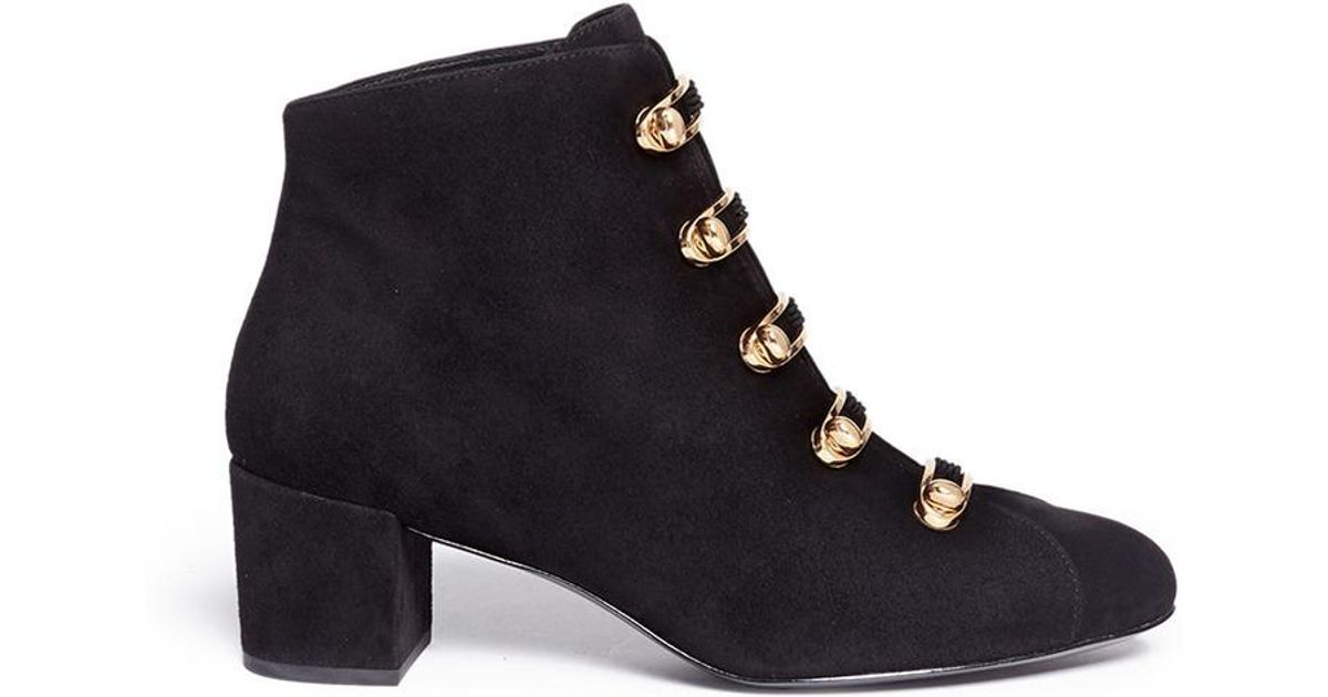 Lyst - Stella Luna  stella  Turnlock Bar Suede Ankle Boots in Black