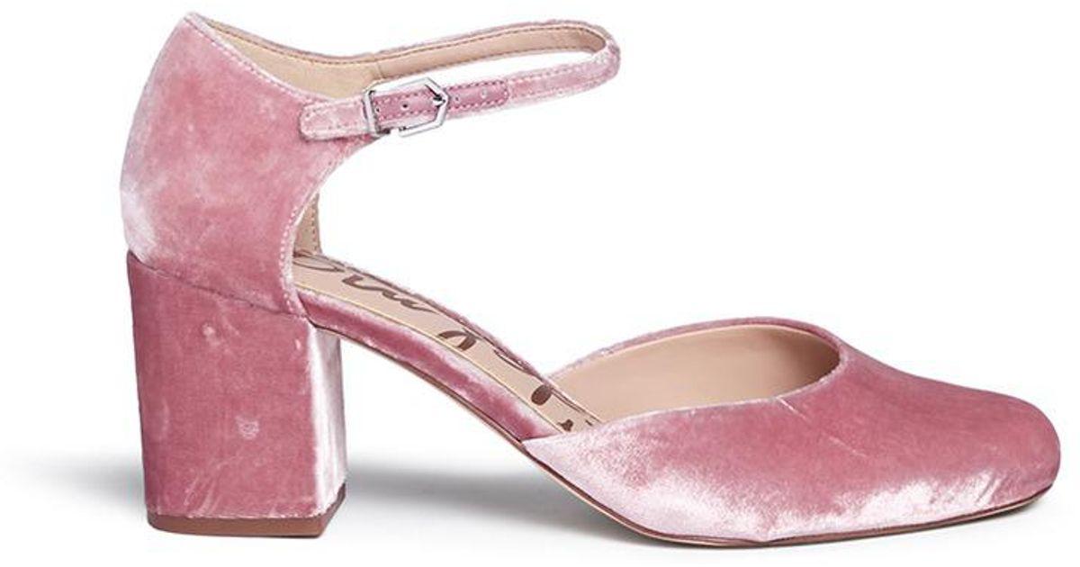 518e87bd9 Lyst - Sam Edelman  clover  Block Heel Velvet D orsay Pumps in Pink