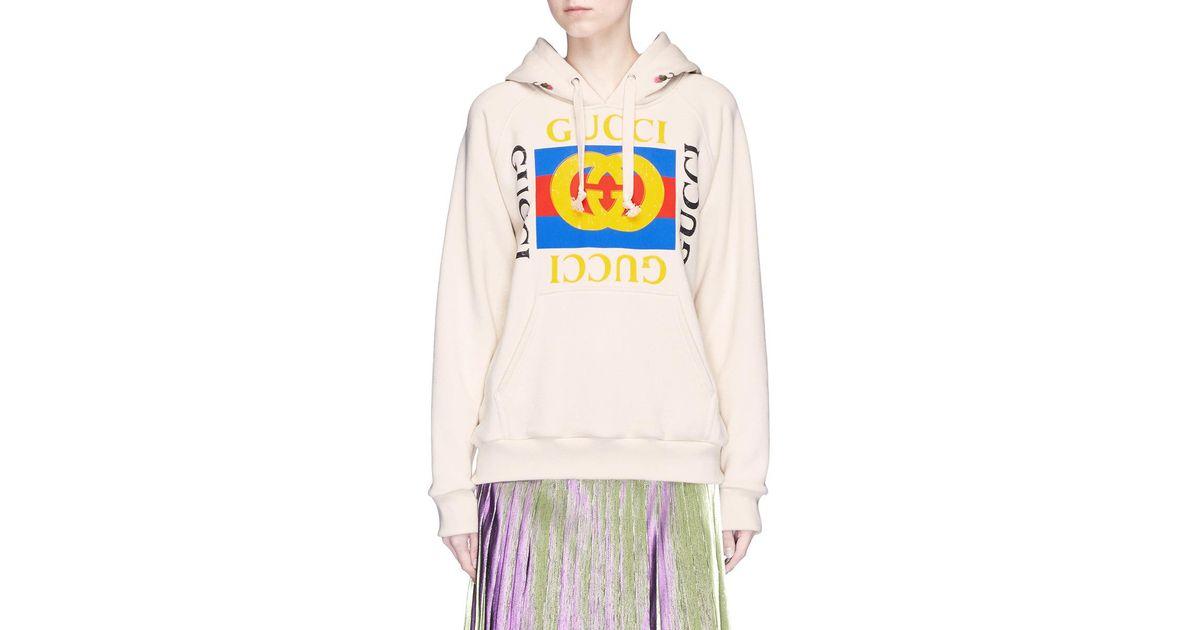 0bdea53cb6a Lyst - Gucci Floral Embroidered Logo Print Oversized Hoodie