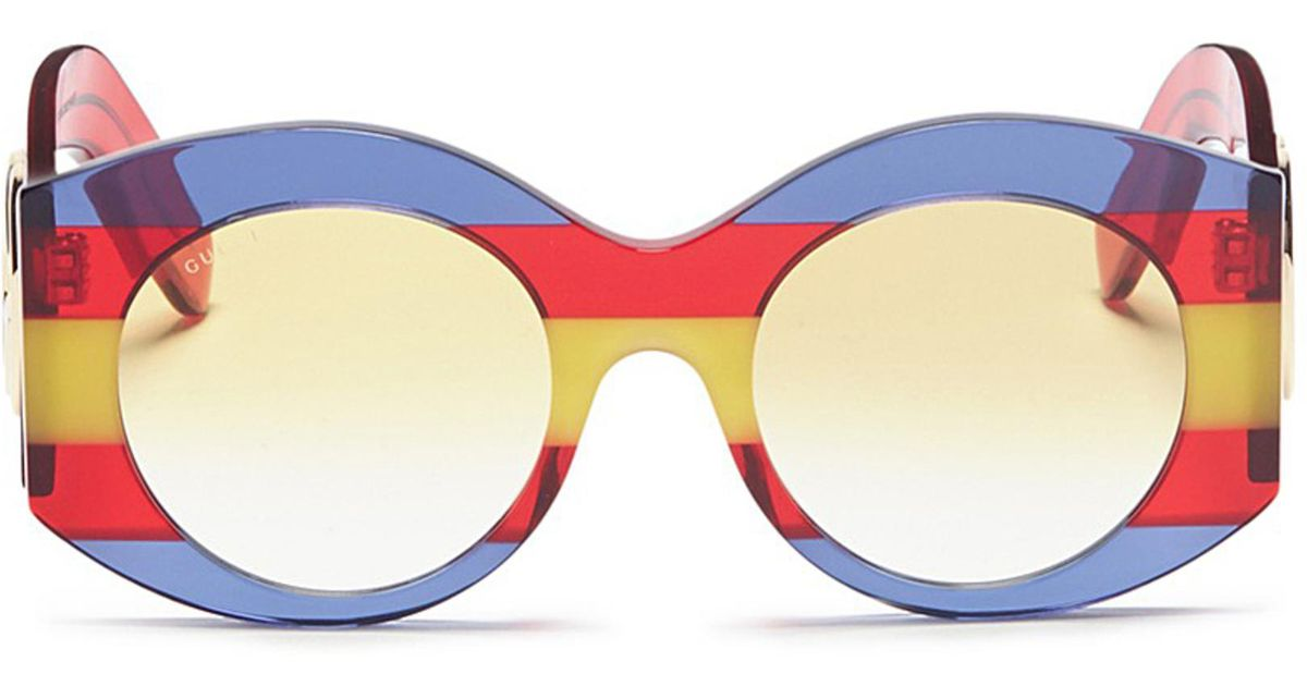 8de79e69137 Gucci Web Stripe Acetate Oversized Round Sunglasses - Lyst