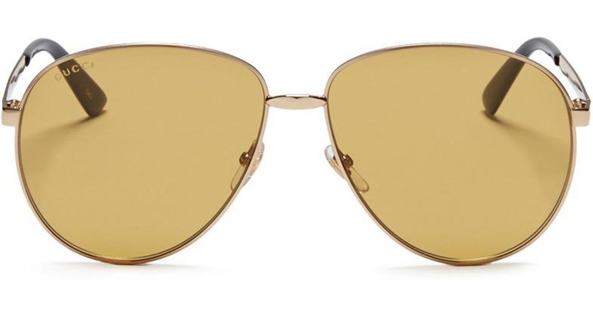 073fa15c97 Lyst - Gucci Web Stripe Temples Oversized Aviator Sunglasses in Metallic