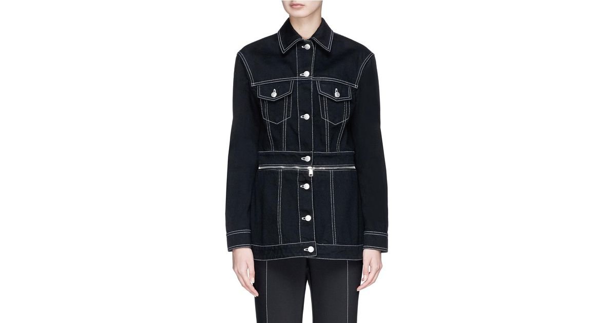 28fb42906382 Alexander McQueen Contrast Stitch Denim Jacket in Blue - Lyst