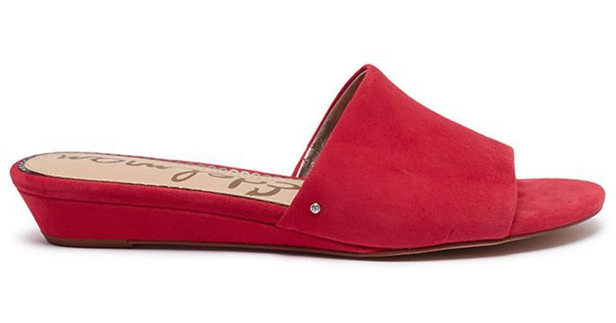 e7c47b3ce92844 Lyst - Sam Edelman  liliana  Wedge Suede Slide Sandals in Red