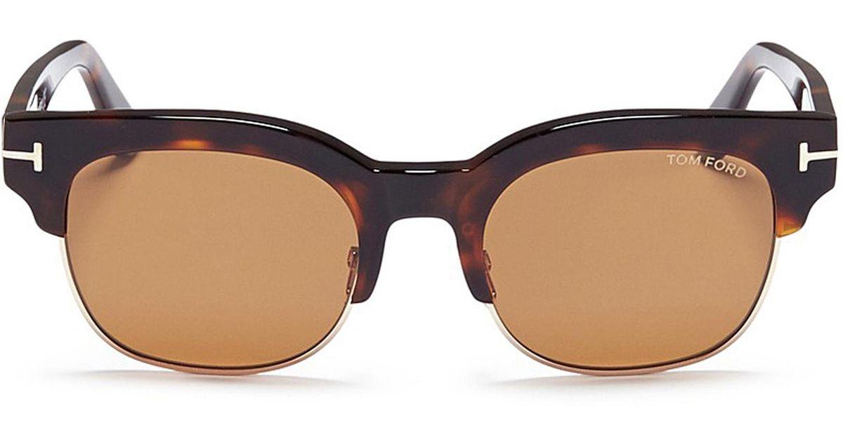 70d5c20e1bb Lyst - Tom Ford  harry  Metal Rim Tortoiseshell Acetate Square Sunglasses  in Brown