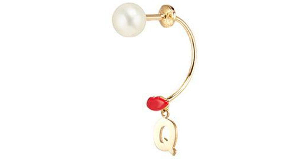 Pearl & yellow-gold single earring Delfina Delettrez rD2A0LXTR