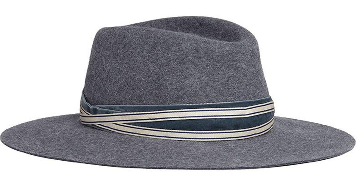 899ee81bf Maison Michel - Gray 'charles' Rabbit Furfelt Fedora Hat - Lyst