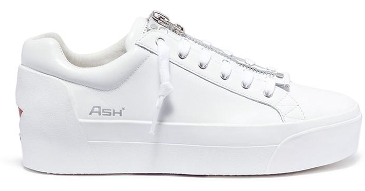0601631f40874 Lyst - Ash  buzz  Zip Leather Platform Sneakers in White