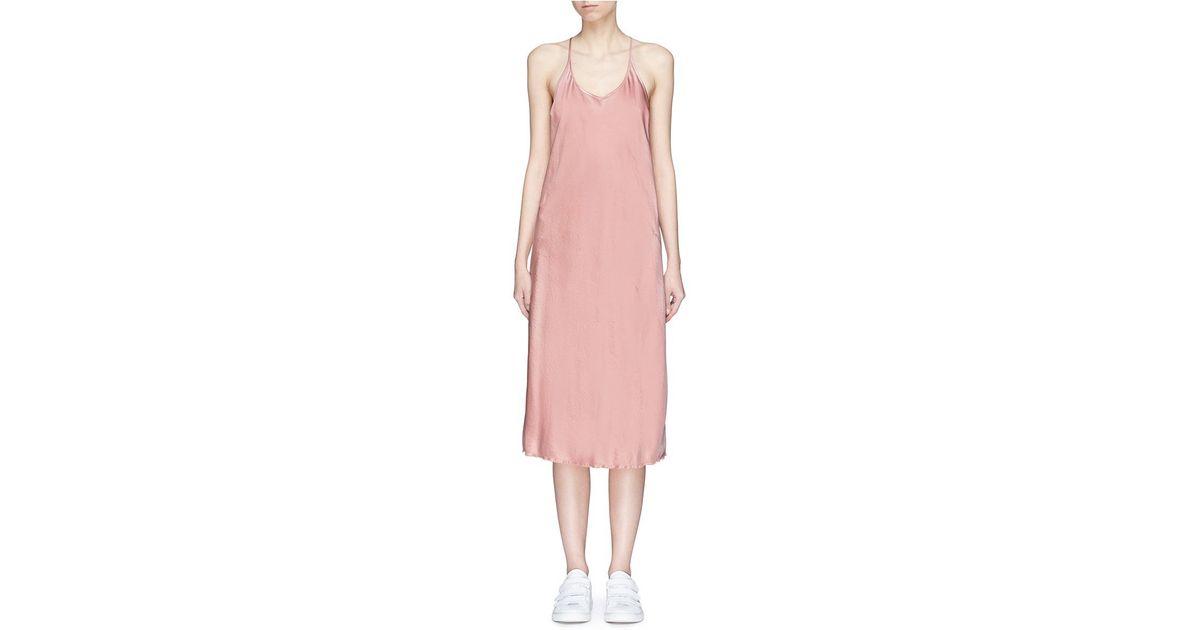 ba60c175adca T By Alexander Wang 'wash & Go' Racerback Satin Slip Dress in Pink - Lyst