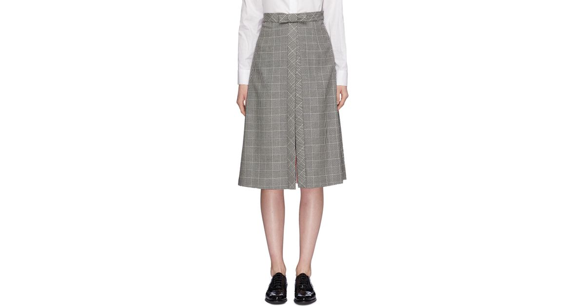 a75364504fe Thom Browne Bow Split Front Houndstooth Check Plaid Skirt in Gray - Lyst