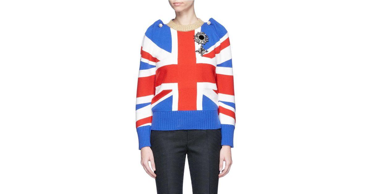 f5b9ca5540e Gucci Gg Pearl Pin Jewelled Union Jack Wool Sweater - Lyst