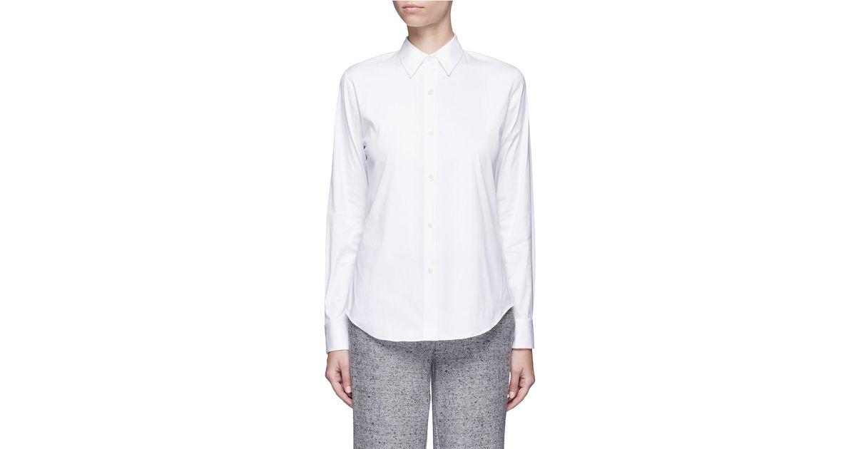 d755a5b2fd1 Theory 'tenia' Stretch Cotton Blend Shirt in White - Lyst
