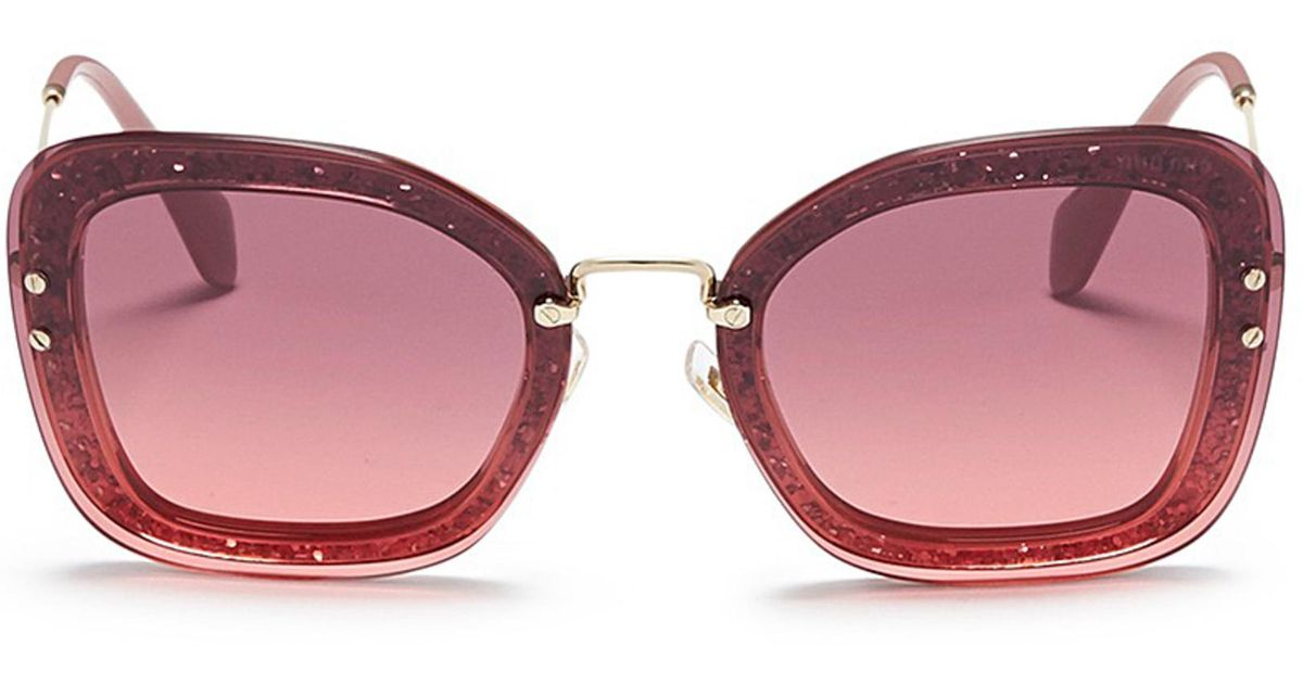 316d747e3ddb Lyst - Miu Miu Metal Temple Mounted Lens Glitter Acetate Square Sunglasses  in Pink