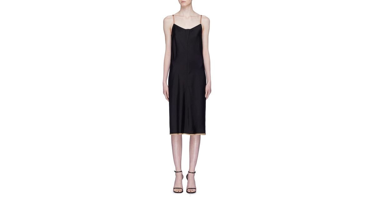 81f2d964cc73 T By Alexander Wang 'wash & Go' Contrast Trim Satin Slip Dress in Black -  Lyst