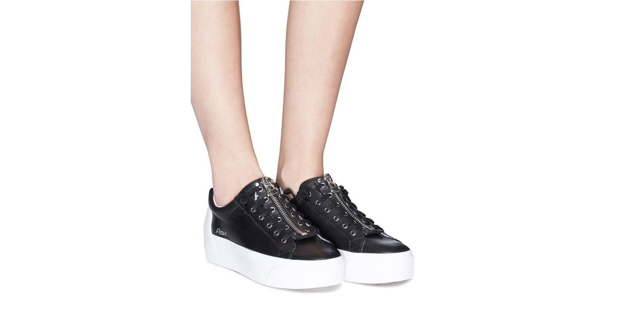 70fe12cb47f59 Lyst - Ash  buzz  Zip Leather Platform Sneakers in Black - Save 64%