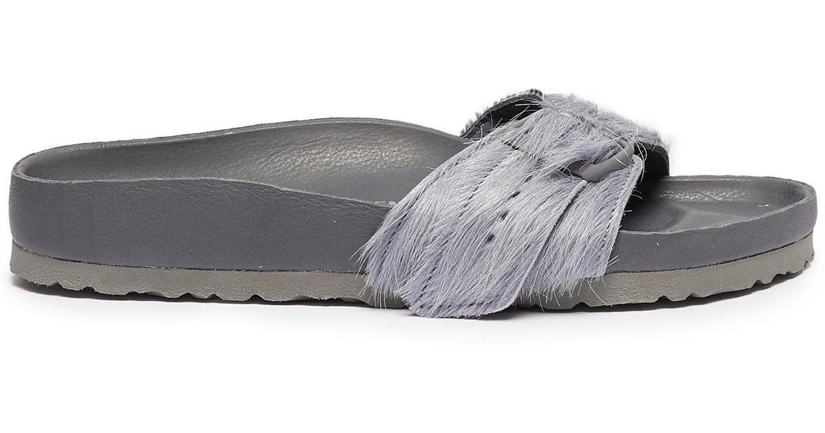 6b307c47db9 Lyst - Rick Owens X Birkenstock  madrid  Cow Fur Sandals in Gray