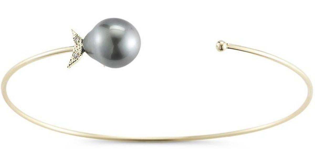 Mizuki Sea of Beauty Black Leather Wrap Bracelet with Pearls Jyb16pRy