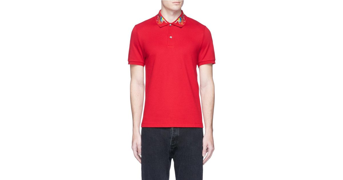 8f3407346d8 Lyst - Gucci Dragon Embroidered Piqué Polo Shirt in Red for Men