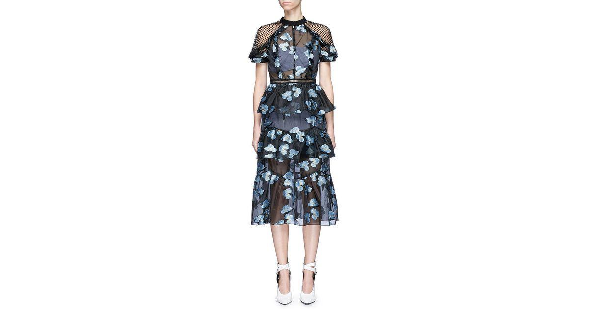 715e3514a7545 Self-Portrait Floral Fil Coupé Open Back Cape Organdy Dress in Blue - Lyst