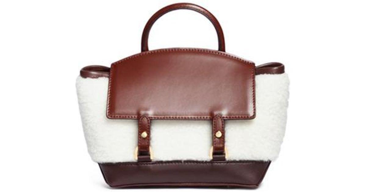leather and shearling crossbody bag - Brown sacai s0I19xMHd
