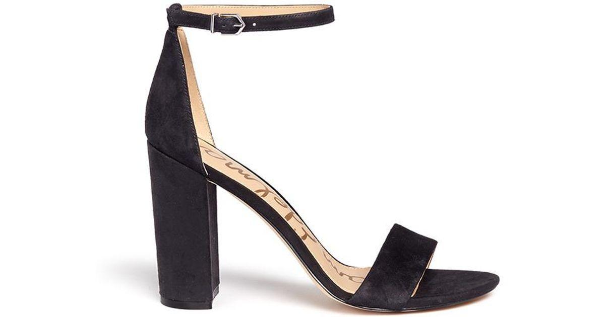 a0b3ada09 Lyst - Sam Edelman  yaro  Ankle Strap Suede Sandals in Black