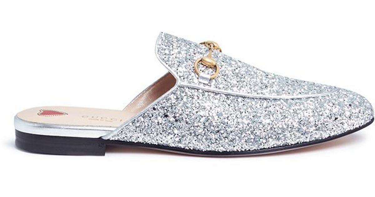 d7174e0ca1b Lyst - Gucci  princetown  Horsebit Glitter Slides in Metallic