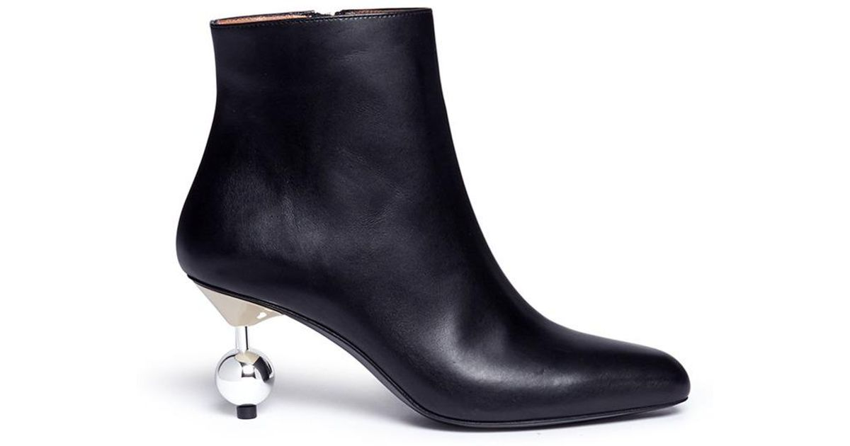 98759db72cd2 Lyst - Marni Orb Pin Heel Leather Ankle Boots in Black
