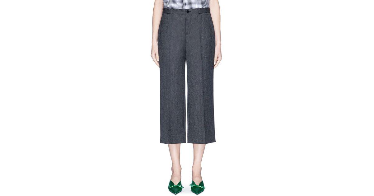af94a1082830 Lyst - Balenciaga  rockabilly  Virgin Wool Herringbone Cropped Pants in Gray
