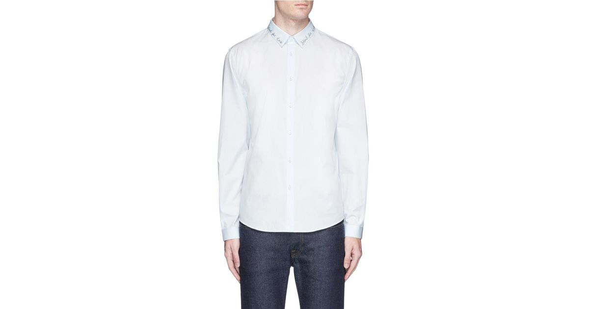 61efab2a6 Lyst - Gucci 'duke' Slogan Embroidered Shirt in Blue for Men