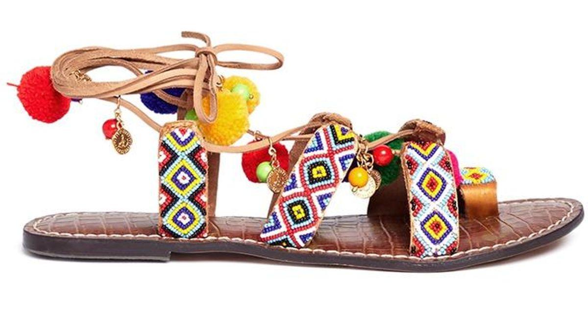 0e12d38c6 Lyst - Sam Edelman  lisabeth  Pompom Beaded Lace-up Sandals