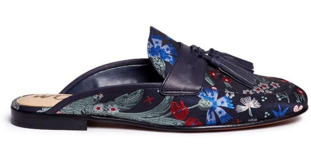 6755bc2c7e88f Lyst - Sam Edelman  paris  Tassel Floral Jacquard Slide Loafers in Blue