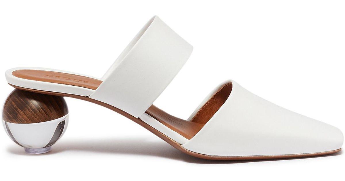 0f61e64c714790 Neous 'masdevallia' Sphere Heel Cutout Leather Mules in White - Lyst