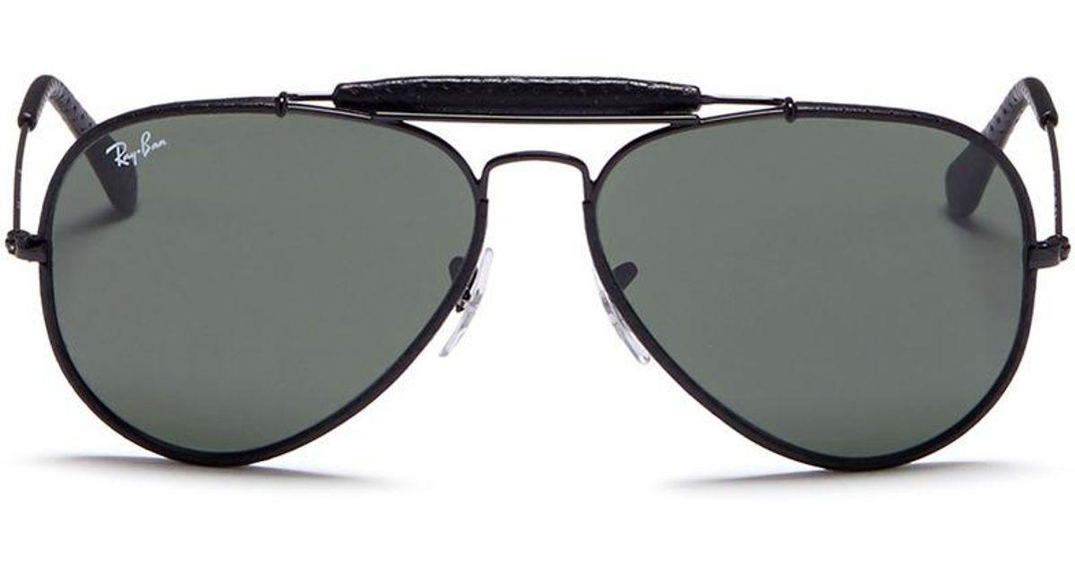 894cc9496 Lyst - Ray-Ban 'outdoorsman Craft' Leather Wrap Metal Aviator Sunglasses