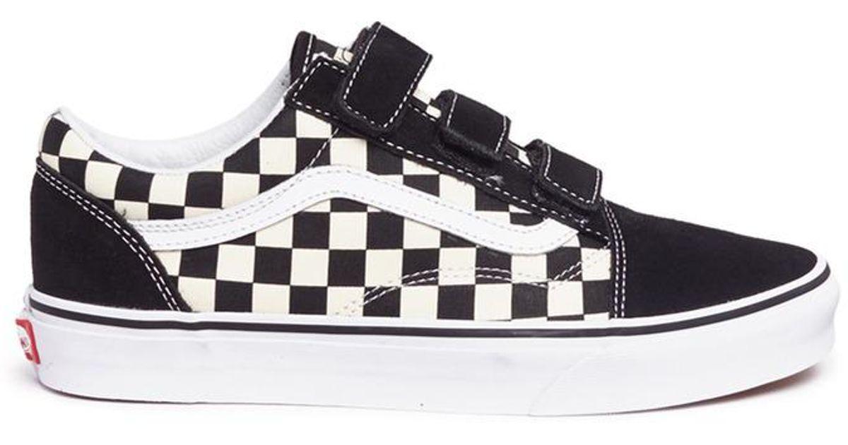 vans old skool canvas checkerboard trainers in black